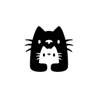 Cat mom and son cub mother parent negative space logo vector icon illustration
