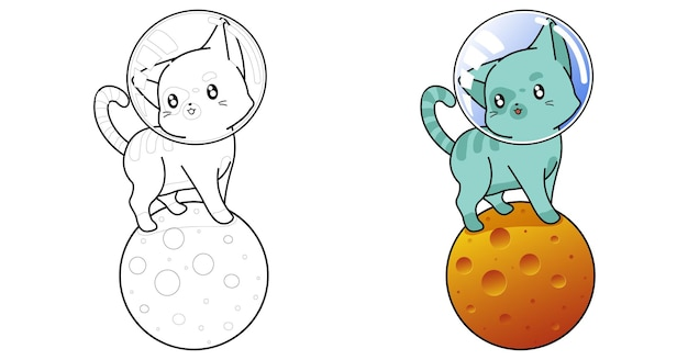 Cat on the moon cartoon coloring page for kids