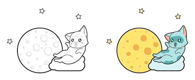 Cat and the moon coloring page for kids