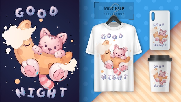 Cat on the moon for poster and merchandising