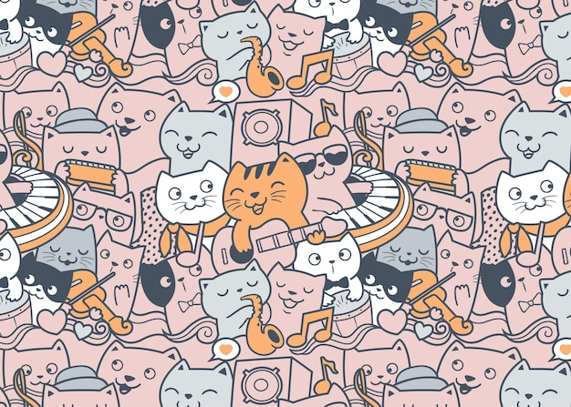 Cat music band pattern doodle background