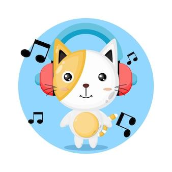 고양이 음악 귀여운 캐릭터 로고