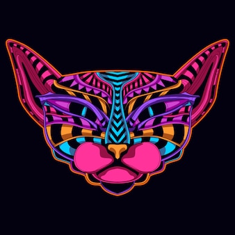 Cat in neon color art style
