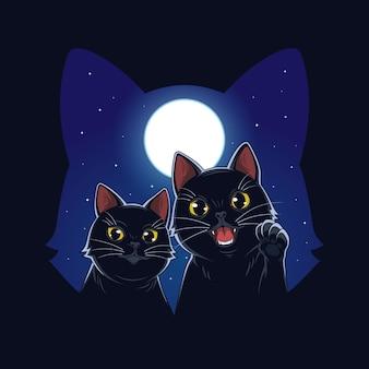 달빛 일러스트 벡터의 고양이
