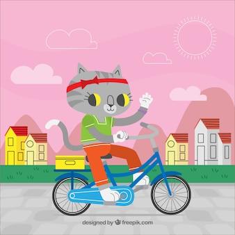 자전거 배경에 고양이