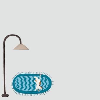 카펫 배경 벡터 귀여운 그리기 소셜 미디어 게시물에 고양이