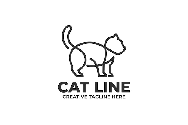 Cat in one line business logo