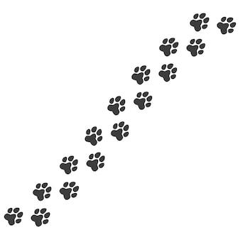 猫または犬の足のペットの足のトレイルプリント