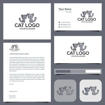 Кошка или два кота логотип с визитной карточкой