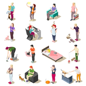 Cat ordinary life isometric icons