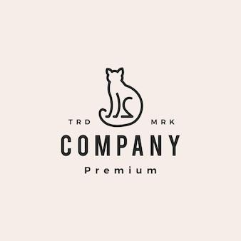 猫の概要モノラインヒップスターヴィンテージロゴベクトルアイコンイラスト