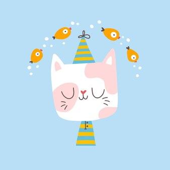 A cat in pajamas dreams of fish