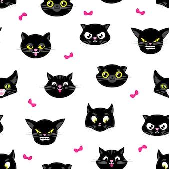 猫柄。ハロウィーンの猫のシームレスなテクスチャ。黄色い目を持つ黒い子猫の頭。キティ生地のプリント、漫画の動物のペットの顔