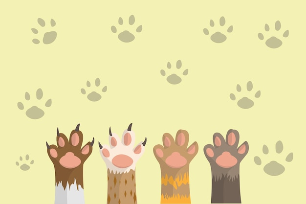 Cat paw animal abstract background