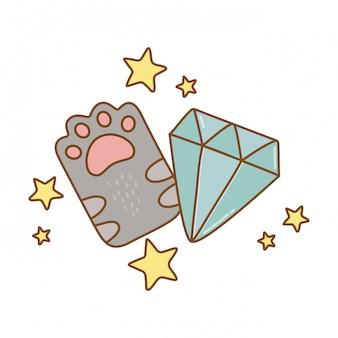 Cat paw and diamond