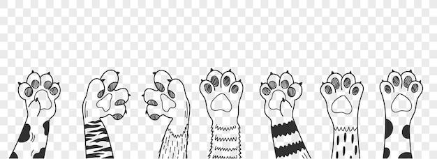 고양이 발. 다른 고양이 발 벡터 일러스트 레이 션을 설정합니다. 다양한 귀여운 만화 국내 동물 발의 컬렉션입니다.