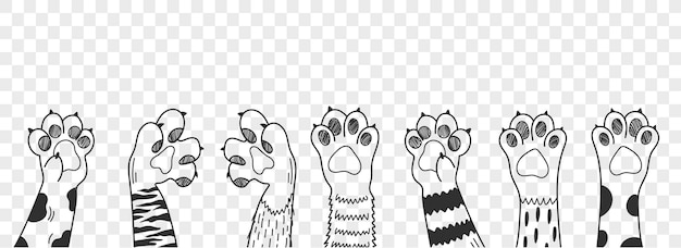 Cat paw. different cat paws set vector illustration. collection of various cute cartoon domestic animal foot.
