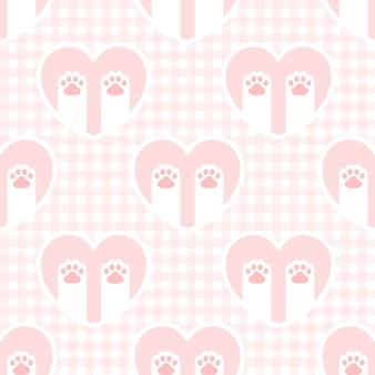 猫の足のフットプリントと心のシームレスな背景の繰り返しパターン、壁紙の背景、かわいいシームレスパターン背景