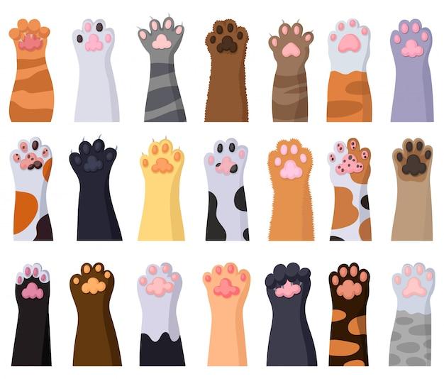 Иллюстрация лапки кота на белой предпосылке. мультфильм установить значок нога животного. мультфильм установить значок кошачьей лапой.
