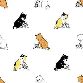 猫の足の子猫のシームレスなパターン糸ボール漫画