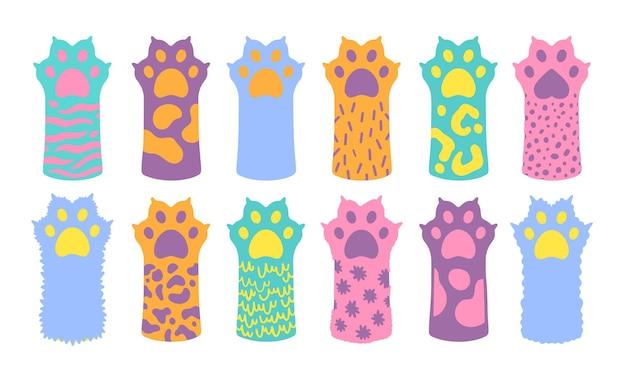 Кошка лапа домашнее животное мило. котенок мультфильм плоский значок. рисованной стиль каракули. векторная иллюстрация