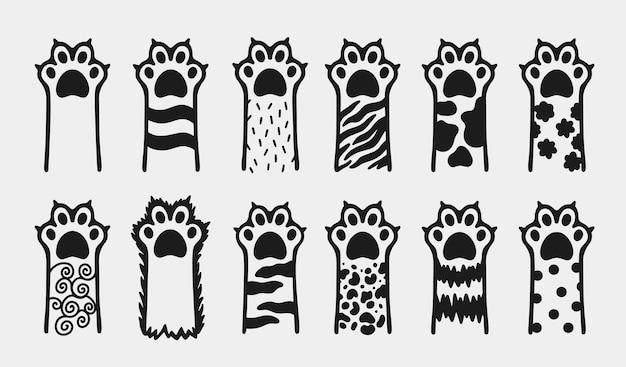 고양이 발 애완 동물 동물 귀여운 고양이 만화 평면 아이콘 손으로 그린 낙서 스타일.
