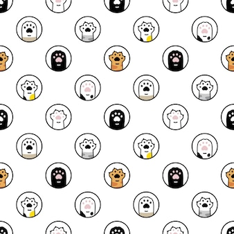 Cat paw seamless pattern cartoon kitten footprint polka dot
