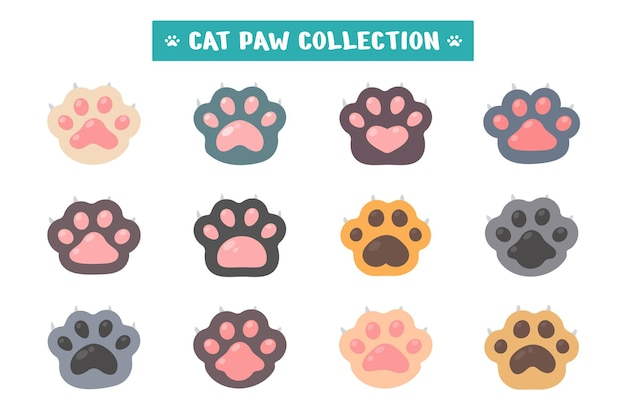 Cat paw set different species cute kitten paw isolated