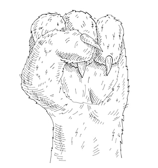 Cat paw with a clenched fist. vintage monochrome hatching illustration isolated on white