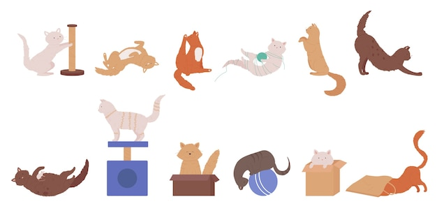 Кошка домашнее животное играет набор иллюстраций.