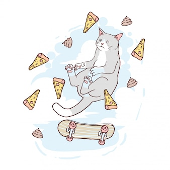 猫のピザとスケートボードの反重力