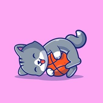 猫がボールイラストを再生します。糸玉でかわいい猫。