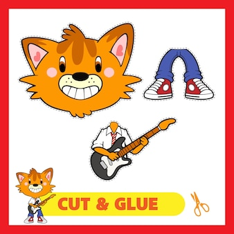 Кот играет на гитаре cut and glue