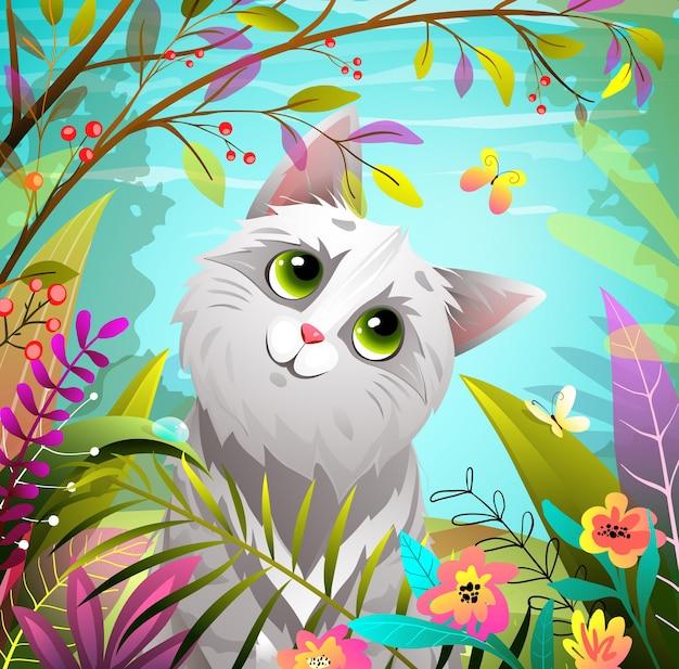 夏の自然公園や蝶と森で遊ぶ猫