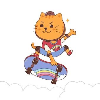 Кошка играет на коньках для серфинга милый мультфильм