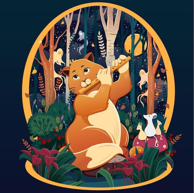 フルートを吹く猫。音楽を聞いて悲しいネズミ。ラズベリーの茂みの中の猫。暗い森。森の中の猫。