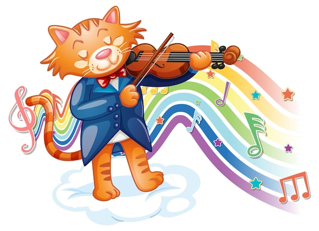 Gatto che suona il violino con simboli di melodia sull'onda arcobaleno