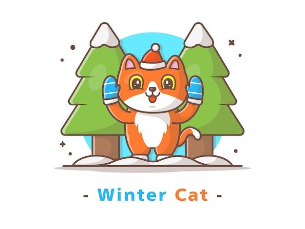 Cat playing in winter season
