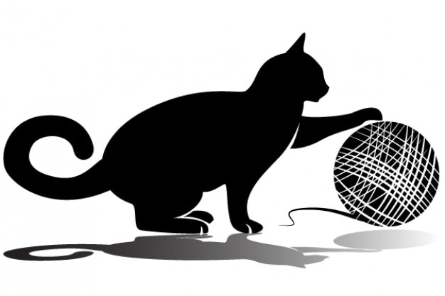 Cat playing with wool vector