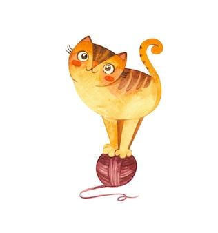 Кошка играет с клубком пряжи. симпатичный игривый котенок. уютная открытка. талисман товаров для домашних животных. акварель рисованной иллюстрации.