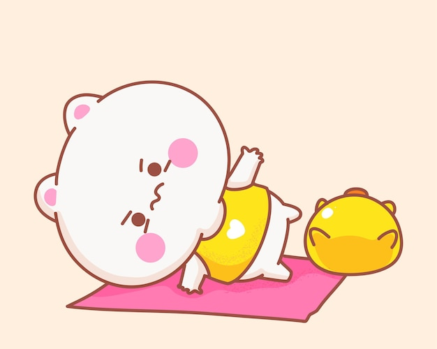 Cat playing yoga with duck cartoon illustration