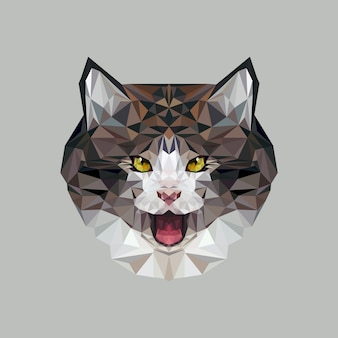 Cat in polygonal style. triangle vector illustration of animal for use as a print on t-shirt and poster