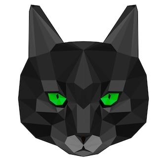 고양이 초상화. 추상 다각형 고양이 배경.