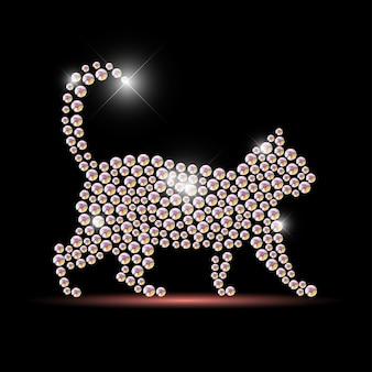 黒の背景に分離されたラインストーンの宝石で作られた猫の肖像画。動物のロゴ、動物のアイコン。ジュエリーパターン、ハンドメイド商品。輝くパターン。動物のシルエット、ペットの散歩。