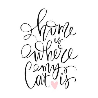 Cat quote isolated on white background. hand drawn kitten lettering.
