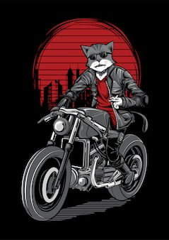Cat rider motorbike illustration