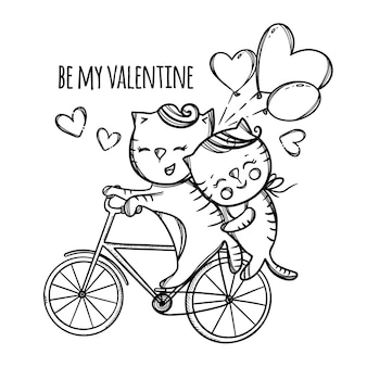 Cat riding a bike. valentine's day cartoon animals hand drawn monochrome  illustration