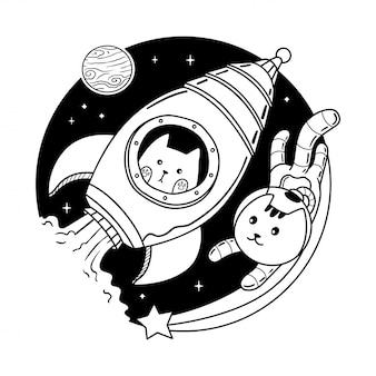 Cat rocket Premium Vector