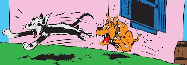 怒っている犬から走っている猫