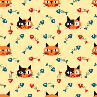 고양이 얼굴과 생선 원활한 패턴